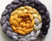 Hand Dyed gradient roving 3.6ozs polwarth mulberry silk 70/30 made to order