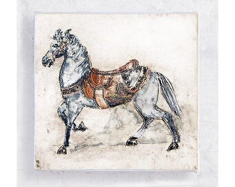 Horse Art - Animal Art - Whimsical Animal Wall Art - White Horse with Saddle - Canvas Print on 5x5 Art Block - Children's Room Decor