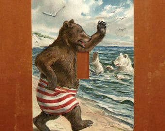 Beach Bears -- Vintage Victorian Greeting Card Light Switch Cover -- Oversized (Multiple Styles)