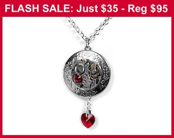 Mothers Day Gift LOCKET Necklace, Silver Locket Steampunk Jewelry, Watch Movement, Swarovski RED Crystal Heart, JULY Birthstone - edmdesigns