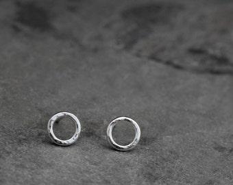 Tiny Circle Earrings, Sterling Silver Post Earrings, Small Eternity Round Studs, Little Minimalist Silver Peekaboo Earrings, Dainty Stud
