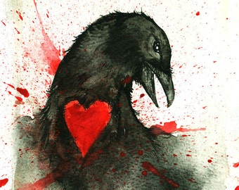 Yearn  -  Signed Print    - Crow and Love Art