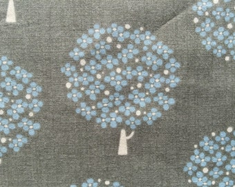 Trees in gray and sky blue Japanese cotton fabric