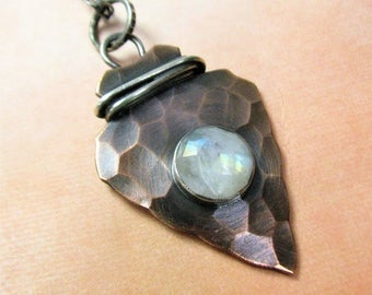 Rustic Arrowhead Necklace, Rainbow Moonstone Necklace, Arrowhead Pendant, Metalsmith Jewelry, Copper Necklace, Mixed Metal Jewelry
