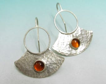 Amber Earrings In Argentium Sterling Silver // Modern Metalsmith Tribal Handcrafted Jewelry For The Bohemian Spirit
