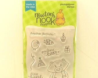 Newton's Nook Stamp Set, Winston's Birthday, Clear Stamps, Card Making Stamps, Bear, Birthday, Birthday Stamps, Belated Birthday Stamp set