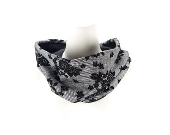 Black and White Floral Cowl Scarf Tube