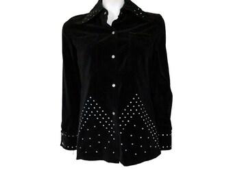 Vintage Black Jacket by Maximum//Button Front Jacket// White Glass Rhinestone Embellished // Size S// 209