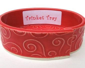 Red Textured Swirl Handmade Ceramic Pottery Trinket Tray Dish