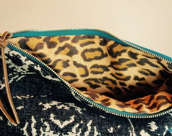 NEW///Oxford Clutch in Mixed Imported Luxury Textile and Neon Blue Leather/// Reversible