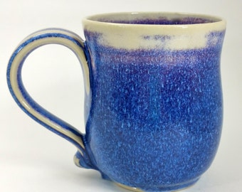 "Blue, Purple and Magenta Wheel Thrown Pottery Mug - This is a ""second"" due to a glaze drip!"