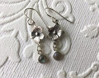 Dainty labradorite sterling flower earrings