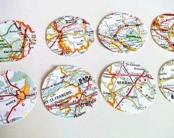 30 Paper Map 1.5 inch wide Circles from Road Map of Europe France and Germany for Garlands or Confetti