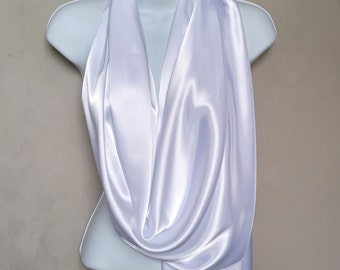 White Satin Scarf Wrap (reversible)... also in colors Black and Ivory.