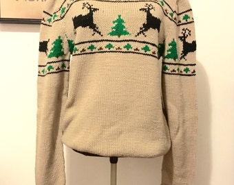 Vintage Novelty Sweater, Christmas Reindeer Sweater, Hand Knit Boatneck Sweater