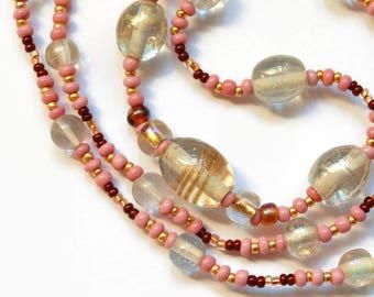Chantilly Bubbles Necklace Antiquity Styled, Transparent Lampwork, Art Careers, Sarahbushka, Spun Gold, Aventurine Glass