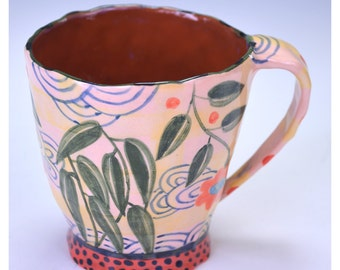 Cup, Large with Leafy Pattern and two Sun Flowers.