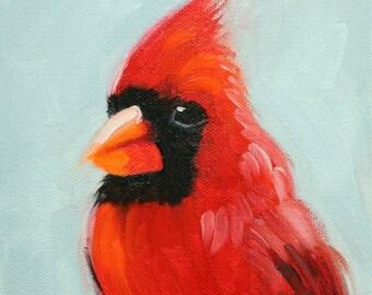 Bird painting 260 6x6 inch portrait original oil cardinal painting by Roz
