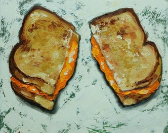 Grilled Cheese Sandwich painting 1 12x12 inch still life original oil painting by Roz