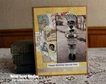 Special One Birthday card,handmade card,collage card,