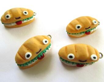30mm Tasty Sandwich Charms Kawaii Sandwich Pendants Polymer Clay Charms Hoagie Sandwich Submarine Sandwich Cute Face Sandwich Charm