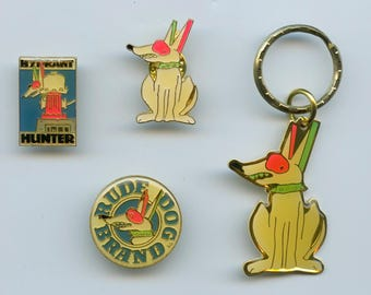 Rude Dog Brand Collectibles Set of Three Pins and One Keychain