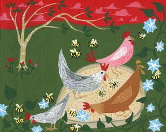Chickens, Bees and Morning Glories Art Print - Chicken Pan - Whimsical Homesteading Outsider Folk Artwork - Wall Decor Artwork