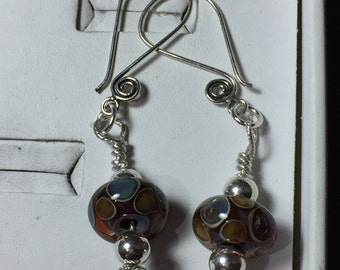 Glass blown earrings in silver