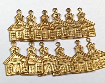 Vintage Brass Stamping SCHOOLHOUSE CHARM Jewelry Supplies 22x16mm pkg10 M108
