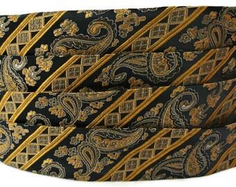 Stripe Formal Accessories , Black Gold Cummerbund , Mens Formal Wear , Gift for Dad , Cumberband ,  Wedding , Cumberbund