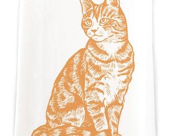 KTFARM1: Orange Tabby Cat Flour Sack Kitchen Towel