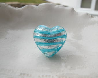 Murano Glass Heart bead , 18mm