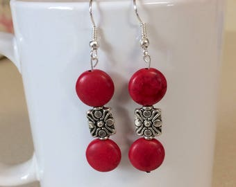 Red turquoise howlite earrings