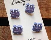 Vintage Children's Cute Purple Train Buttons - 4 Buttons on Original Packaging Card, Children's Buttons, Train Buttons, Sewing Supplies