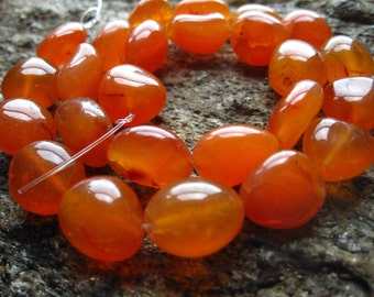 Carnelian beads - smooth polished nuggets oval 7 inches 13mm X 12mm center drilled stones