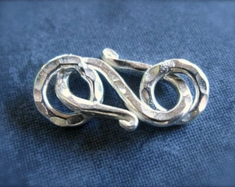 Large Sterling Silver Clasp S Hook Clasp - Hill Tribe Silver - Hammered texture - findings - jewelry supply clasps