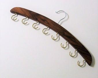 Necklace And Belt  Hanger Organizer Made Of Walnut Wood