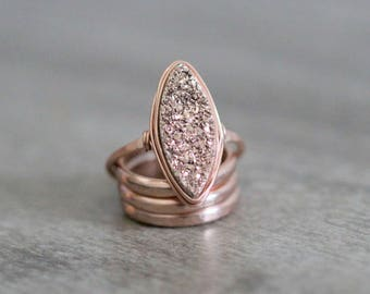 Druzy Cocktail Statement Ring ,  Gilded Rose Gold Gemstone Marquis In Gold , Rose Gold , Sterling Silver , Boho Style