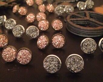 Druzy Stud Earrings Boho Jewelry Rose Gold Titanium Silver