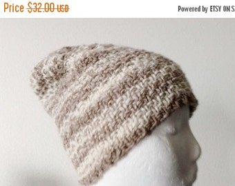 January Sale Owlfeather/Sepia Handknit Hat, 100% Wool, Light Brown and Cream Stripes, Textured Knit. Unisex Beanie, Mori Girl, Lumberjack