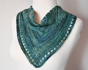 Eyelet Lace Kerchief Cowl - Hand Knit Mini Scarf/Headwrap in 100% Merino Wool - Blue Water - Handknit Kerchief Bandana Scarf Spring Fashion