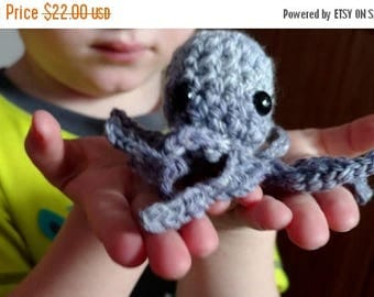 May Sale - 20% off Handmade Octopus in Pale Purple - One of a Kind in Wool and Bamboo Handspun, Sea Creature, Slightly Sparkly, Seeking Home
