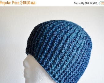 May Sale - 20% off Night Sky - Hand Knit Hat for Women, Traditional Beanie Fit, Garter Stitch, Textured, Sparkle, Stars, Dark Blue, Shades o