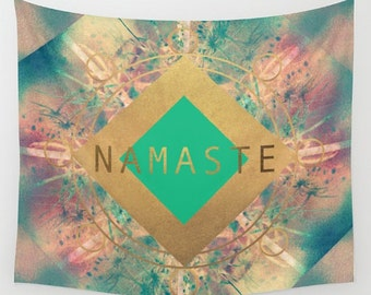 Namaste Mandala fabric wall tapestry- pink-teal-gold- typography-quote- geometric- boho wall hanging- wall art- home decor