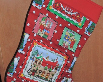 Oversized christmas stocking North pole Santa Elf elves Hanging Quilted Christmas Stocking Free Personalization