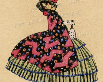 1800s Bustle Lady with Puppy Art Deco meets Victorian French Artist Denise Millon Postcard Two Versions Instant Downloads