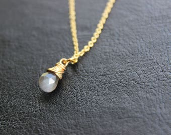 Gray Moonstone Gold Necklace
