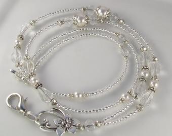 Crystal Silver Beaded Lanyard, Crystal ID Badge Holder, CRYSTAL MOONLIGHT, breakaway lanyard, gifts for her