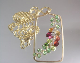 14k Solid Gold Sculptural Pendant with Gemstone Vine in Tsavorite, Sapphire, Garnet, Artisan Made