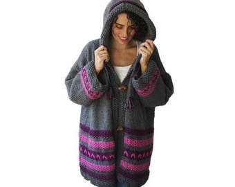 WINTER SALE Chunky Hand Knitted Cardigan Coat Outwear by Afra